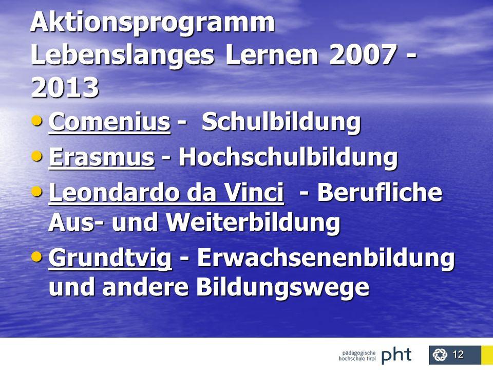 12 Aktionsprogramm Lebenslanges Lernen 2007 - 2013 Comenius - Schulbildung Comenius - Schulbildung Erasmus - Hochschulbildung Erasmus - Hochschulbildu