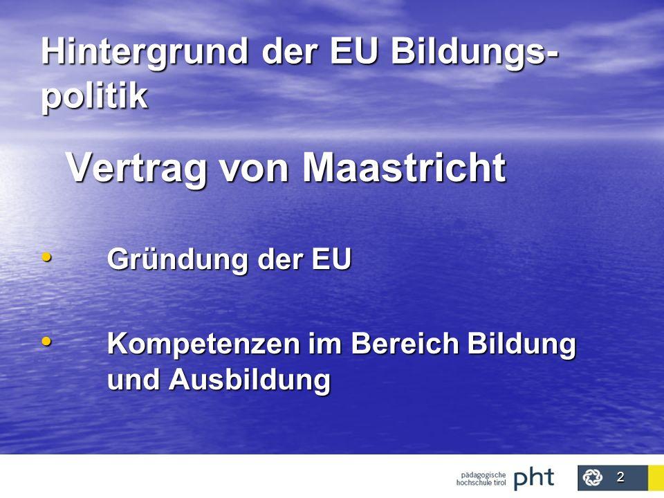 2 Hintergrund der EU Bildungs- politik Vertrag von Maastricht Gründung der EU Gründung der EU Kompetenzen im Bereich Bildung und Ausbildung Kompetenze