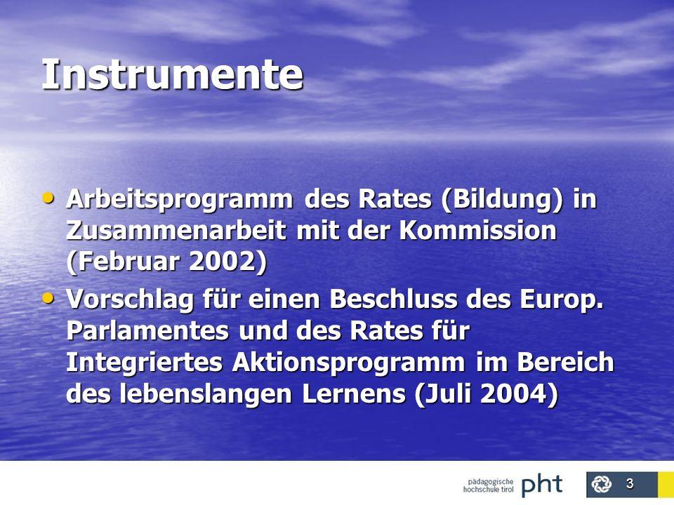 3 Instrumente Arbeitsprogramm des Rates (Bildung) in Zusammenarbeit mit der Kommission (Februar 2002) Arbeitsprogramm des Rates (Bildung) in Zusammena