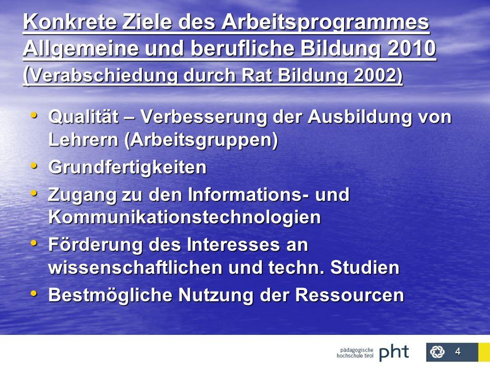 4 Konkrete Ziele des Arbeitsprogrammes Allgemeine und berufliche Bildung 2010 ( Verabschiedung durch Rat Bildung 2002) Qualität – Verbesserung der Aus