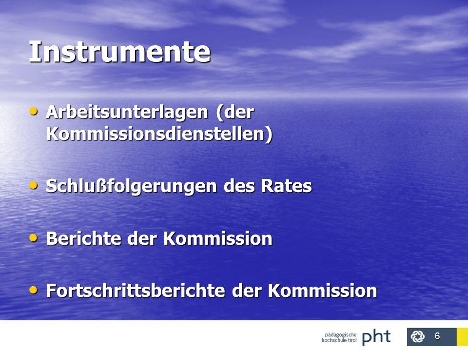 6 Instrumente Arbeitsunterlagen (der Kommissionsdienstellen) Arbeitsunterlagen (der Kommissionsdienstellen) Schlußfolgerungen des Rates Schlußfolgerun