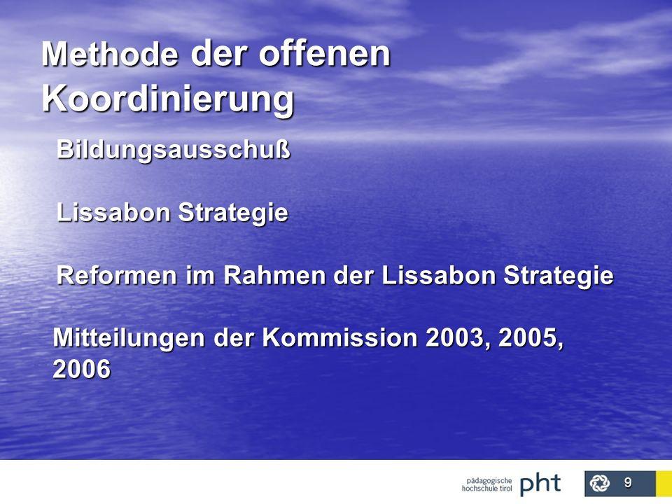 9 Methode der offenen Koordinierung Bildungsausschuß Lissabon Strategie Reformen im Rahmen der Lissabon Strategie Mitteilungen der Kommission 2003, 20