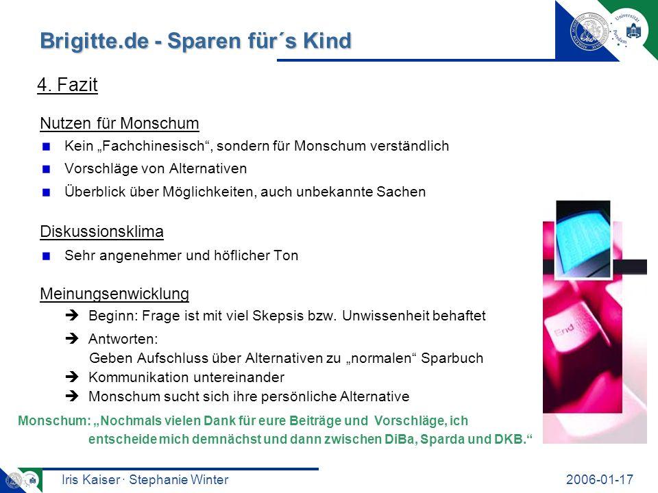 Iris Kaiser · Stephanie Winter2006-01-17 Brigitte.de - Sparen für´s Kind Nutzen für Monschum Kein Fachchinesisch, sondern für Monschum verständlich Vo