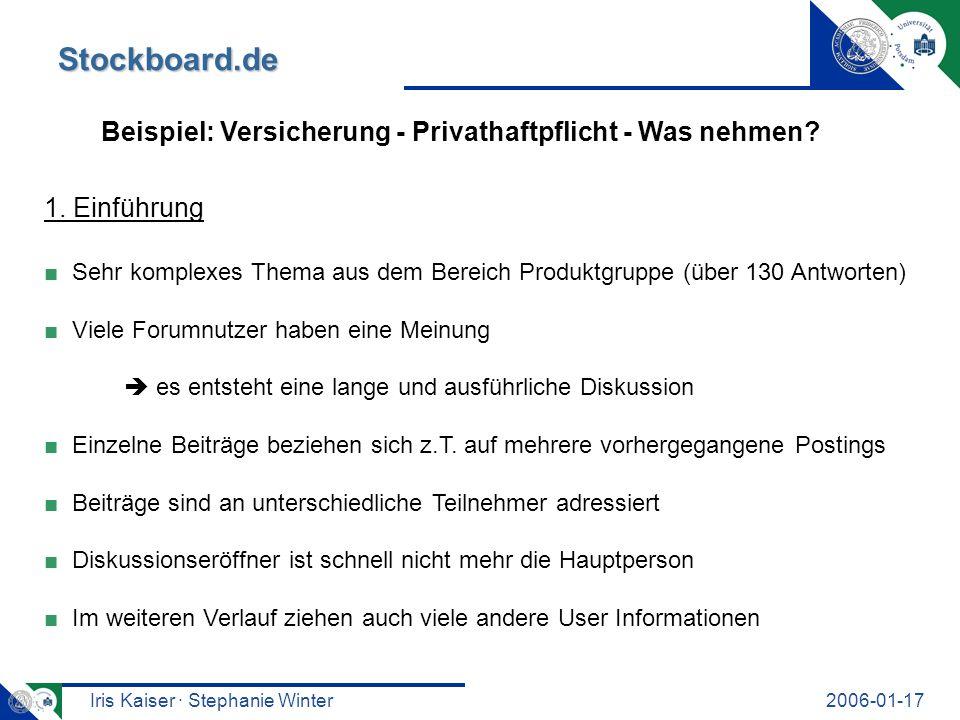 Iris Kaiser · Stephanie Winter2006-01-17 Stockboard.de Beispiel: Versicherung - Privathaftpflicht - Was nehmen? 1. Einführung Sehr komplexes Thema aus