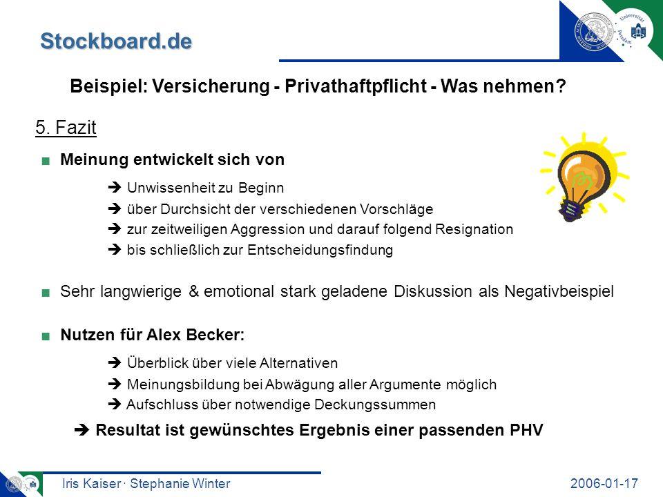 Iris Kaiser · Stephanie Winter2006-01-17 Stockboard.de Beispiel: Versicherung - Privathaftpflicht - Was nehmen? 5. Fazit Meinung entwickelt sich von U
