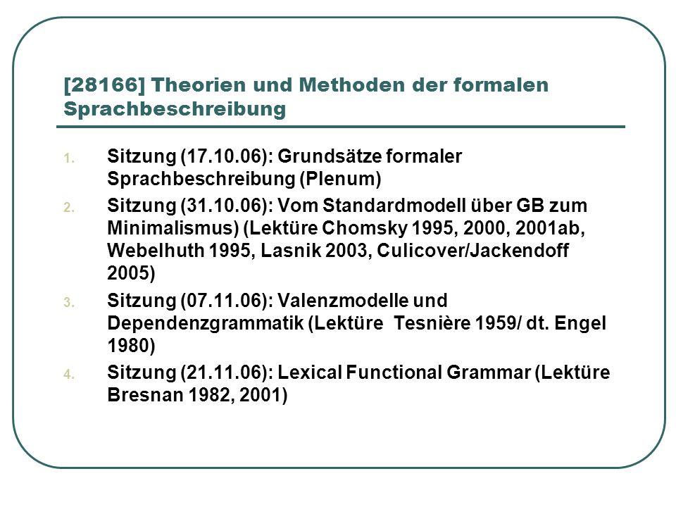 [28166] Theorien und Methoden der formalen Sprachbeschreibung 1. Sitzung (17.10.06): Grundsätze formaler Sprachbeschreibung (Plenum) 2. Sitzung (31.10