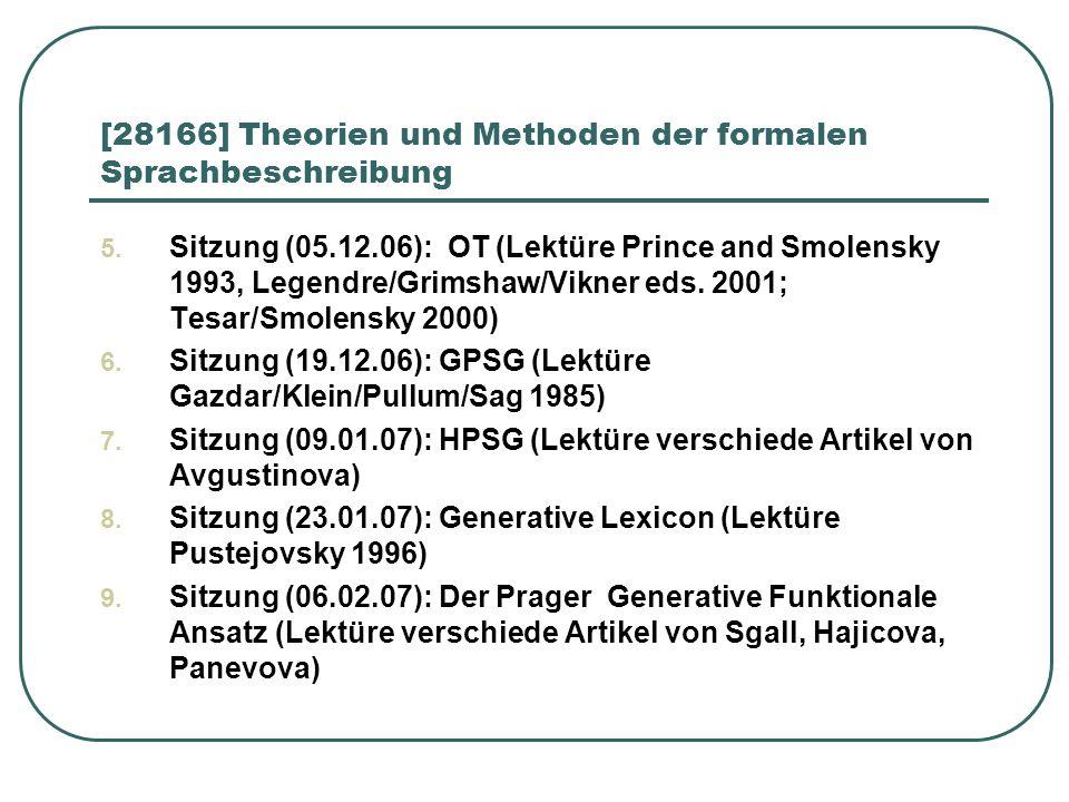 [28166] Theorien und Methoden der formalen Sprachbeschreibung 5. Sitzung (05.12.06): OT (Lektüre Prince and Smolensky 1993, Legendre/Grimshaw/Vikner e