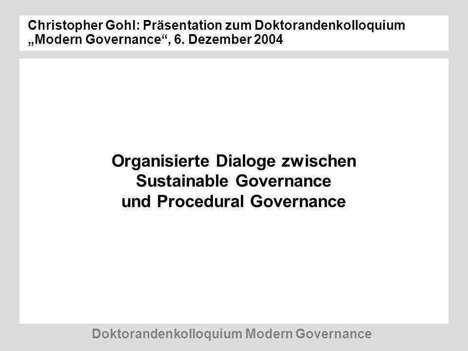 Doktorandenkolloquium Modern Governance Organisierte Dialoge zwischen Sustainable Governance und Procedural Governance Christopher Gohl: Präsentation zum Doktorandenkolloquium Modern Governance, 6.