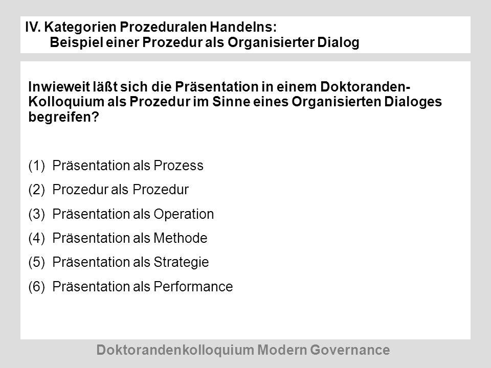 IV. Kategorien Prozeduralen Handelns: Beispiel einer Prozedur als Organisierter Dialog Inwieweit läßt sich die Präsentation in einem Doktoranden- Koll