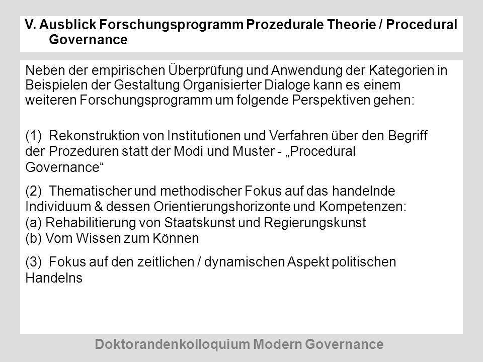 V. Ausblick Forschungsprogramm Prozedurale Theorie / Procedural Governance Neben der empirischen Überprüfung und Anwendung der Kategorien in Beispiele