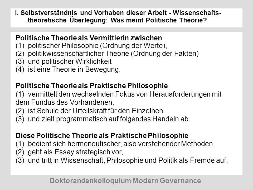 I. Selbstverständnis und Vorhaben dieser Arbeit - Wissenschafts- theoretische Überlegung: Was meint Politische Theorie? Doktorandenkolloquium Modern G
