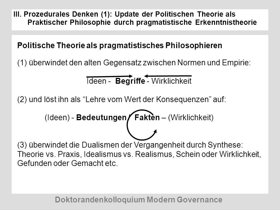 III. Prozedurales Denken (1): Update der Politischen Theorie als Praktischer Philosophie durch pragmatistische Erkenntnistheorie Doktorandenkolloquium