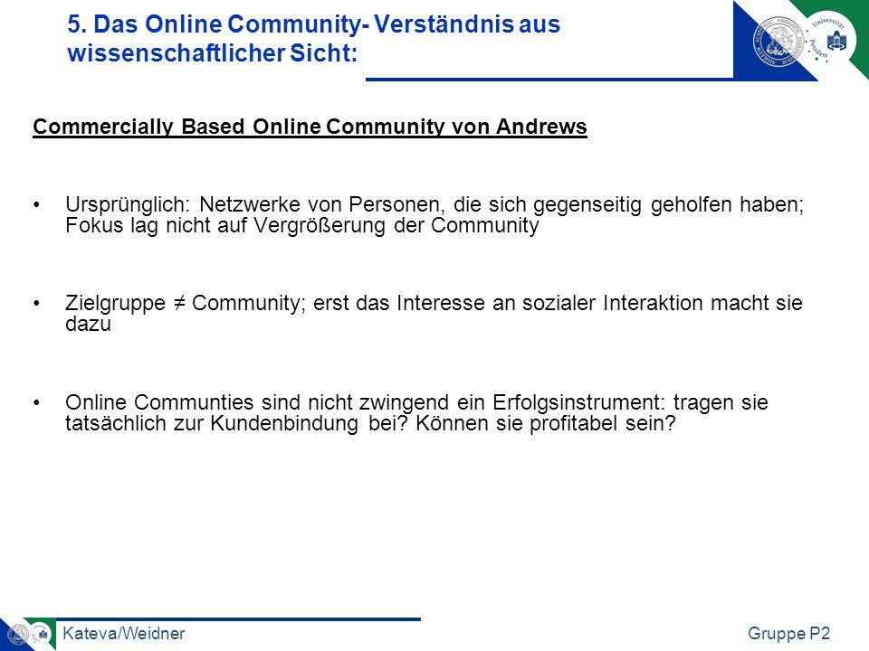 Kateva/WeidnerGruppe P2 Commercially Based Online Community von Andrews Ursprünglich: Netzwerke von Personen, die sich gegenseitig geholfen haben; Fok