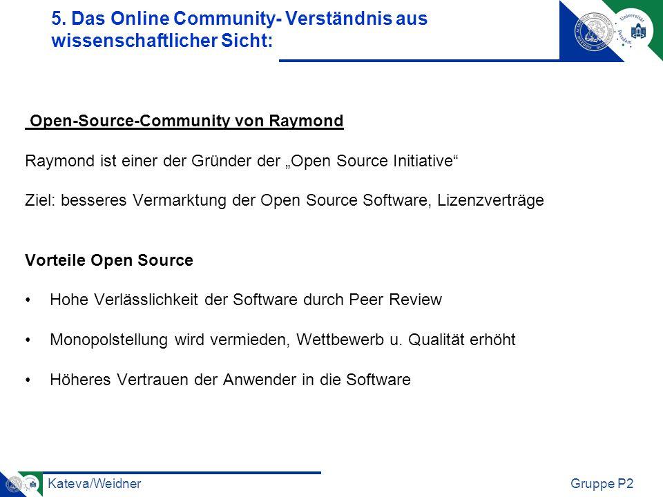 Kateva/WeidnerGruppe P2 Open-Source-Community von Raymond Raymond ist einer der Gründer der Open Source Initiative Ziel: besseres Vermarktung der Open Source Software, Lizenzverträge Vorteile Open Source Hohe Verlässlichkeit der Software durch Peer Review Monopolstellung wird vermieden, Wettbewerb u.