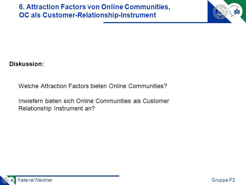 Kateva/WeidnerGruppe P2 Diskussion: Welche Attraction Factors bieten Online Communities? Inwiefern bieten sich Online Communities als Customer Relatio