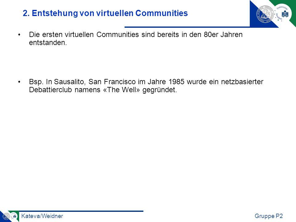 Kateva/WeidnerGruppe P2 2. Entstehung von virtuellen Communities Die ersten virtuellen Communities sind bereits in den 80er Jahren entstanden. Bsp. In