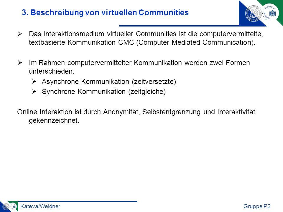 Kateva/WeidnerGruppe P2 3. Beschreibung von virtuellen Communities Das Interaktionsmedium virtueller Communities ist die computervermittelte, textbasi