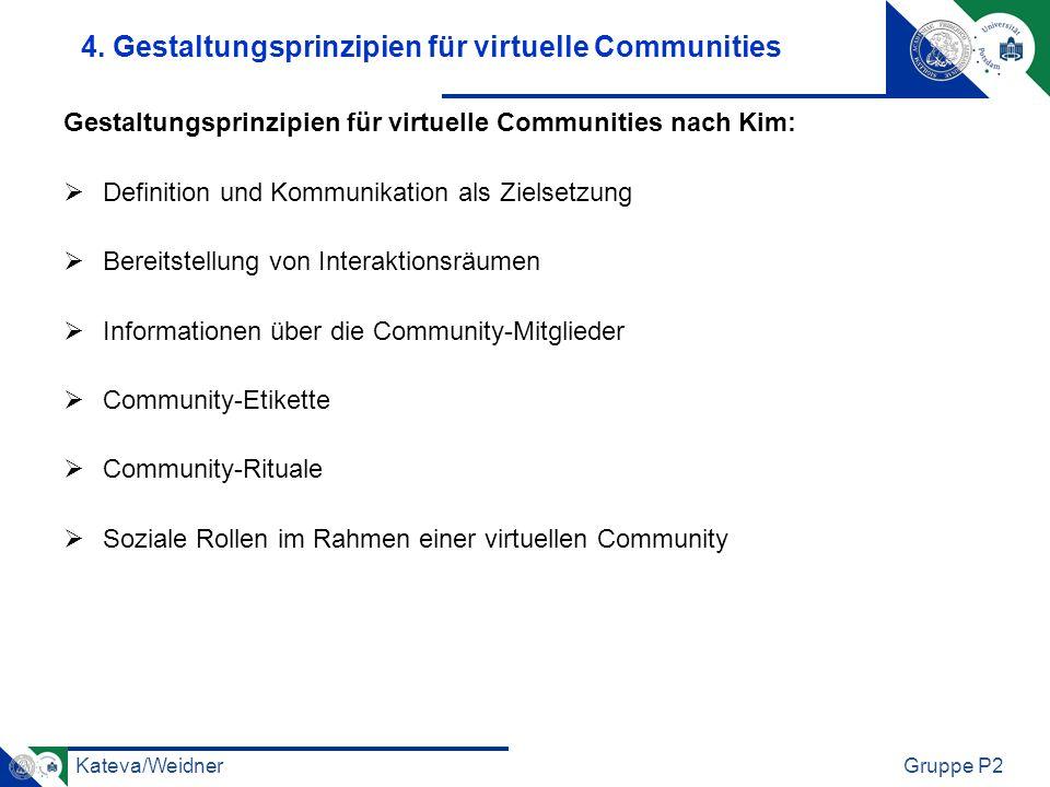 Kateva/WeidnerGruppe P2 4. Gestaltungsprinzipien für virtuelle Communities Gestaltungsprinzipien für virtuelle Communities nach Kim: Definition und Ko