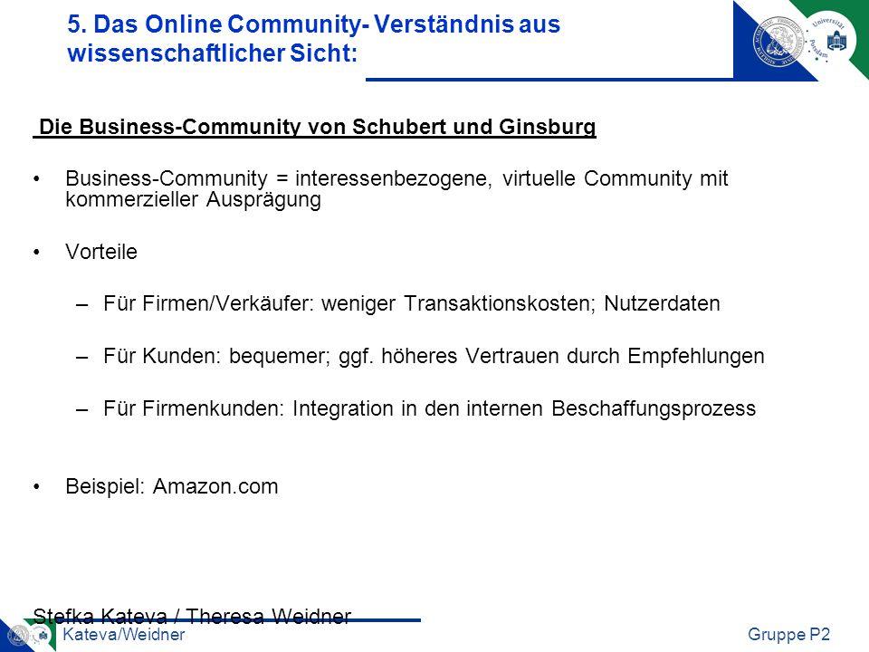 Kateva/WeidnerGruppe P2 Die Business-Community von Schubert und Ginsburg Business-Community = interessenbezogene, virtuelle Community mit kommerzielle