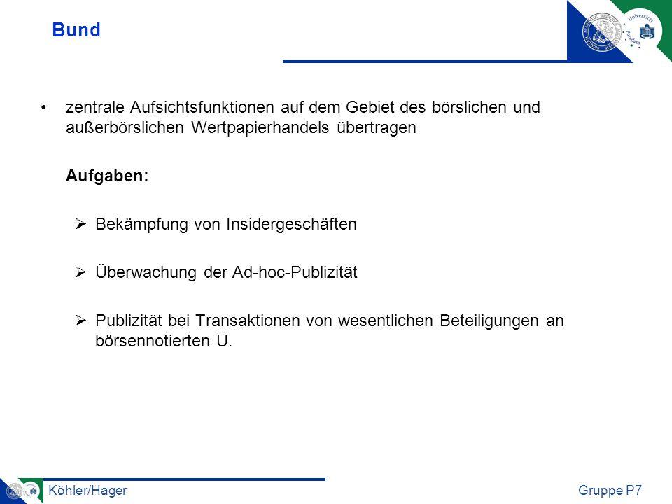 Köhler/HagerGruppe P7 Länder überwachen den Geschäftsverkehr an der Börse Aufsicht auf Einhaltung der börsenrechtlichen Vorschriften und Anordnungen (Rechtsaufsicht) sowie die ordnungsmäßige Durchführung des Handels an der Börse und der Börsengeschäftsabwicklung (Handels- oder Marktaufsicht) zur Handelsaufsicht gehört: Aufsicht über den Börsenhandel, über die Handelsteilnehmer und über die elektronischen Hilfseinrichtungen der Börse
