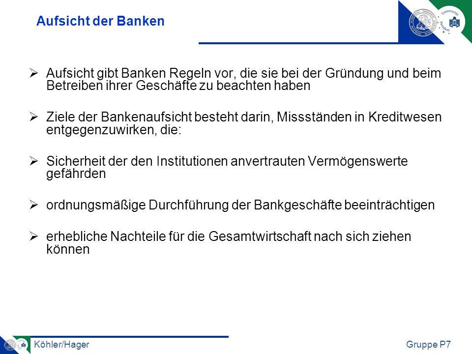 Köhler/HagerGruppe P7 Aufsicht der Versicherungen Ziele: die Belange der Versicherten ausreichend zu wahren und dabei vor allem sicherzustellen, dass die Verpflichtungen aus den Versicherungsverträgen jederzeit erfüllbar sind