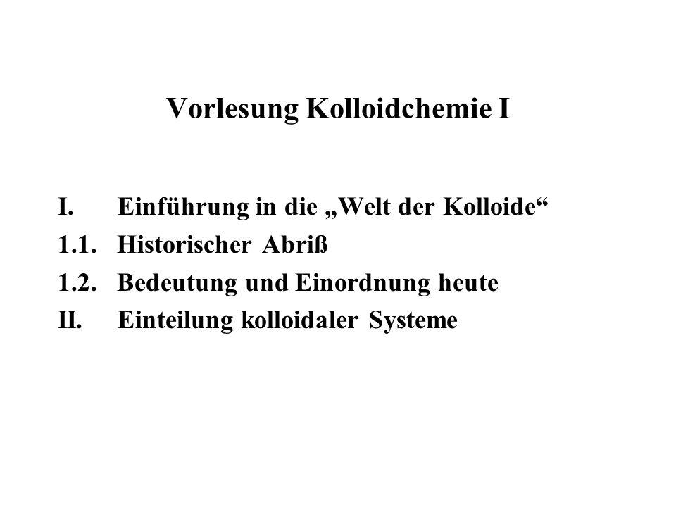 Vorlesung Kolloidchemie I I.Einführung in die Welt der Kolloide 1.1. Historischer Abriß 1.2. Bedeutung und Einordnung heute II. Einteilung kolloidaler