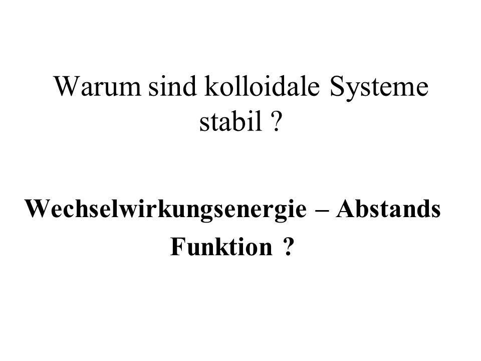 Warum sind kolloidale Systeme stabil ? Wechselwirkungsenergie – Abstands Funktion ?