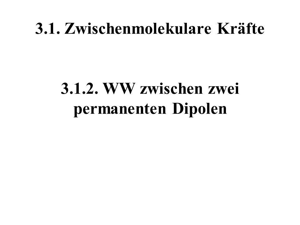 3.1. Zwischenmolekulare Kräfte 3.1.2. WW zwischen zwei permanenten Dipolen