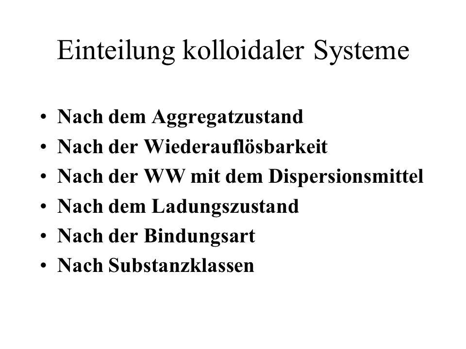 Einteilung kolloidaler Systeme Nach dem Aggregatzustand Nach der Wiederauflösbarkeit Nach der WW mit dem Dispersionsmittel Nach dem Ladungszustand Nac