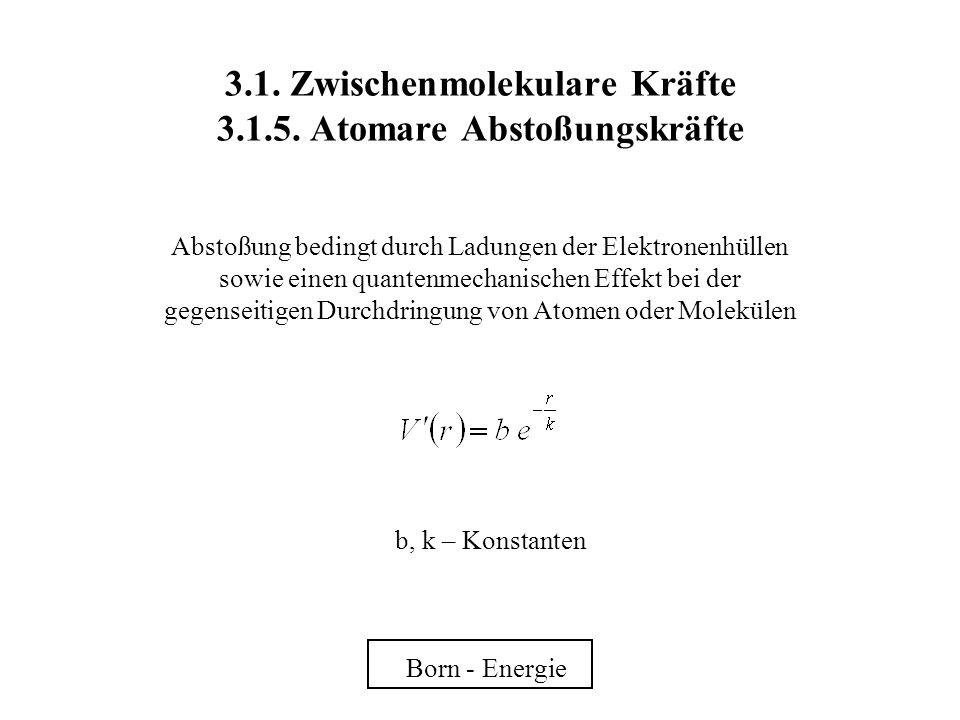 3.1. Zwischenmolekulare Kräfte 3.1.5. Atomare Abstoßungskräfte Abstoßung bedingt durch Ladungen der Elektronenhüllen sowie einen quantenmechanischen E