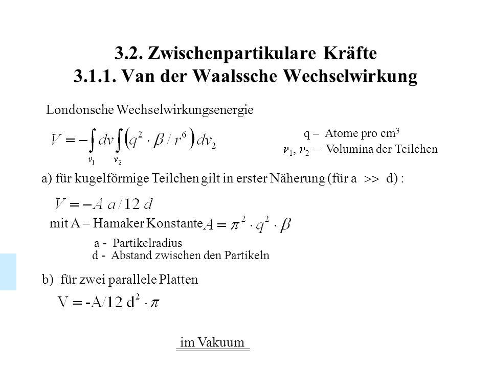 3.2. Zwischenpartikulare Kräfte 3.1.1. Van der Waalssche Wechselwirkung Londonsche Wechselwirkungsenergie a) für kugelförmige Teilchen gilt in erster