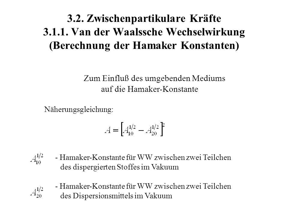 3.2. Zwischenpartikulare Kräfte 3.1.1. Van der Waalssche Wechselwirkung (Berechnung der Hamaker Konstanten) Zum Einfluß des umgebenden Mediums auf die