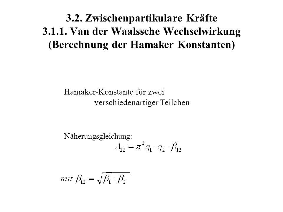 3.2. Zwischenpartikulare Kräfte 3.1.1. Van der Waalssche Wechselwirkung (Berechnung der Hamaker Konstanten) Hamaker-Konstante für zwei verschiedenarti