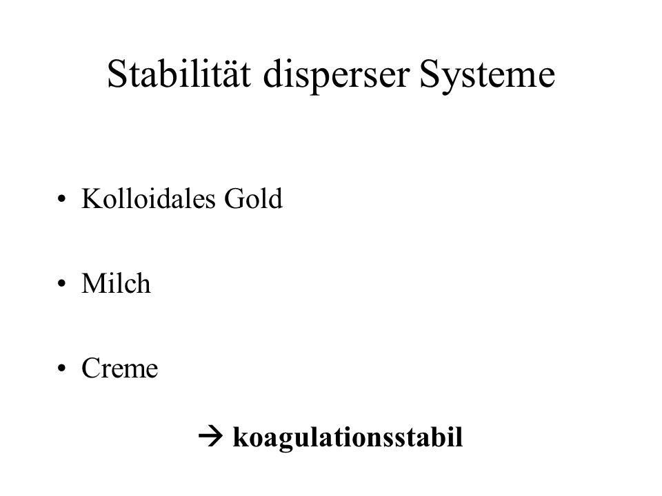 Stabilität disperser Systeme Kolloidales Gold Milch Creme koagulationsstabil