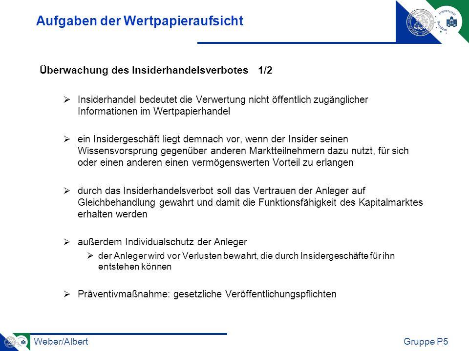 Weber/AlbertGruppe P5 Aufgaben der Wertpapieraufsicht Überwachung des Insiderhandelsverbotes 1/2 Insiderhandel bedeutet die Verwertung nicht öffentlic