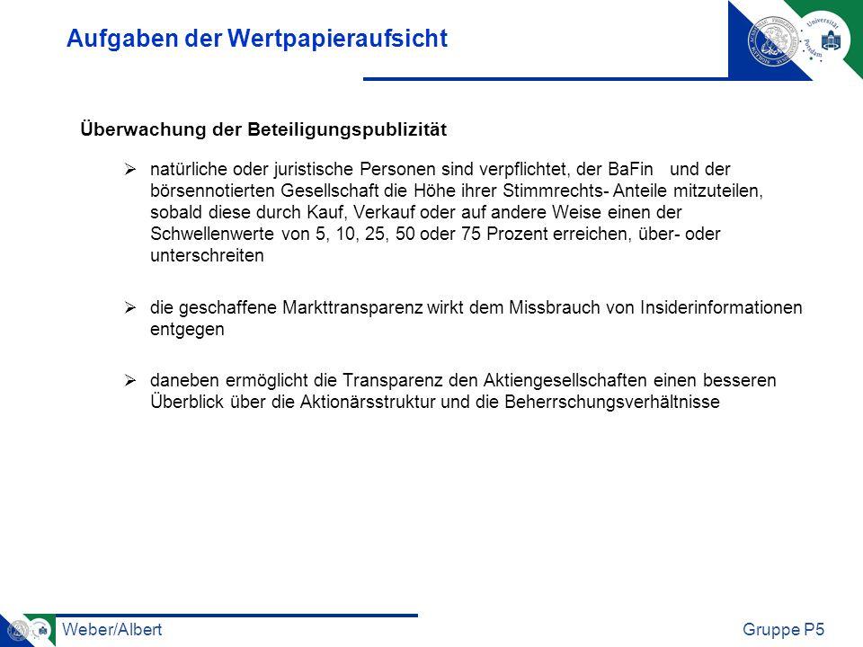 Weber/AlbertGruppe P5 Aufgaben der Wertpapieraufsicht Überwachung der Beteiligungspublizität natürliche oder juristische Personen sind verpflichtet, d