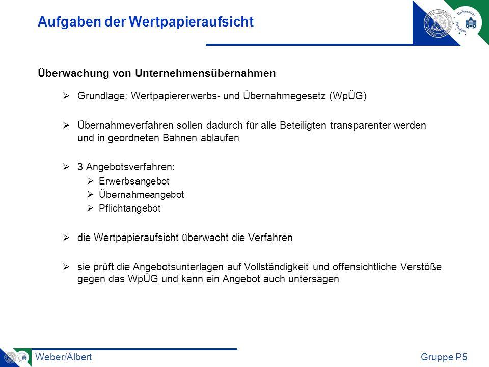 Weber/AlbertGruppe P5 Aufgaben der Wertpapieraufsicht Überwachung von Unternehmensübernahmen Grundlage: Wertpapiererwerbs- und Übernahmegesetz (WpÜG)