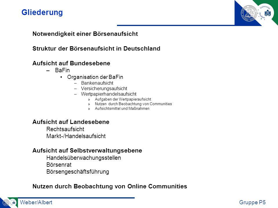 Weber/AlbertGruppe P5 Gliederung Notwendigkeit einer Börsenaufsicht Struktur der Börsenaufsicht in Deutschland Aufsicht auf Bundesebene –BaFin Organis