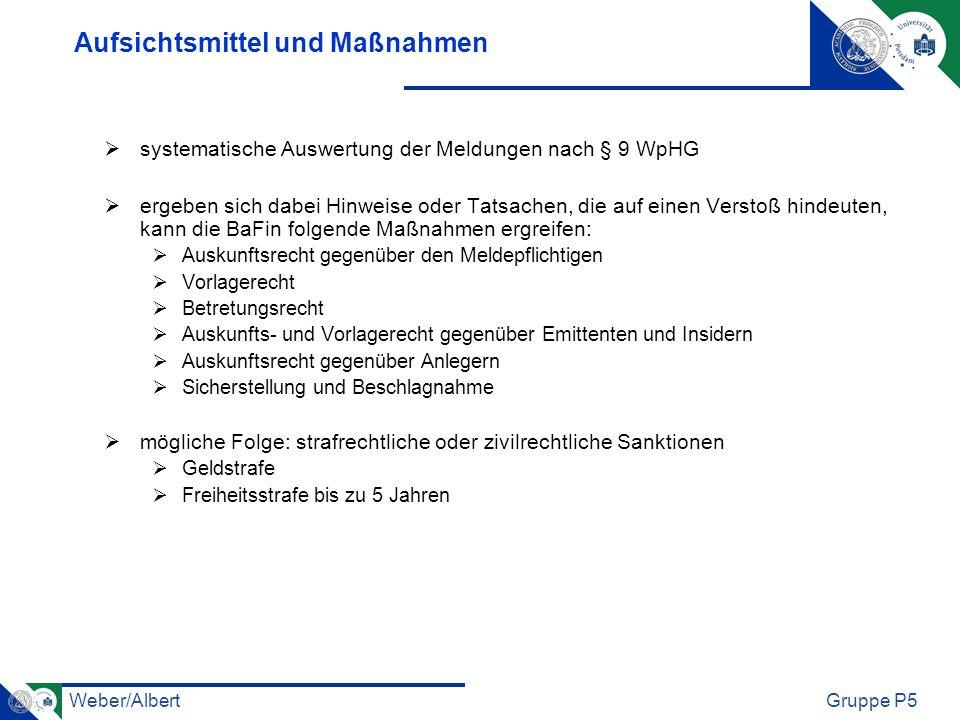 Weber/AlbertGruppe P5 Aufsichtsmittel und Maßnahmen systematische Auswertung der Meldungen nach § 9 WpHG ergeben sich dabei Hinweise oder Tatsachen, d