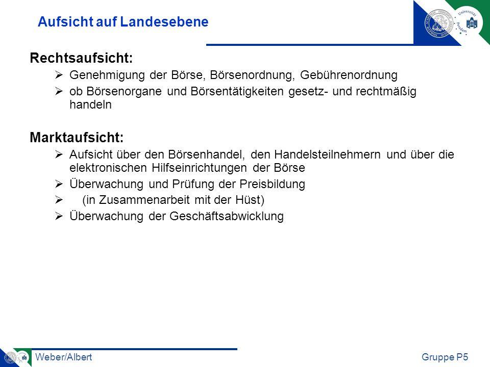 Weber/AlbertGruppe P5 Aufsicht auf Landesebene Rechtsaufsicht: Genehmigung der Börse, Börsenordnung, Gebührenordnung ob Börsenorgane und Börsentätigke