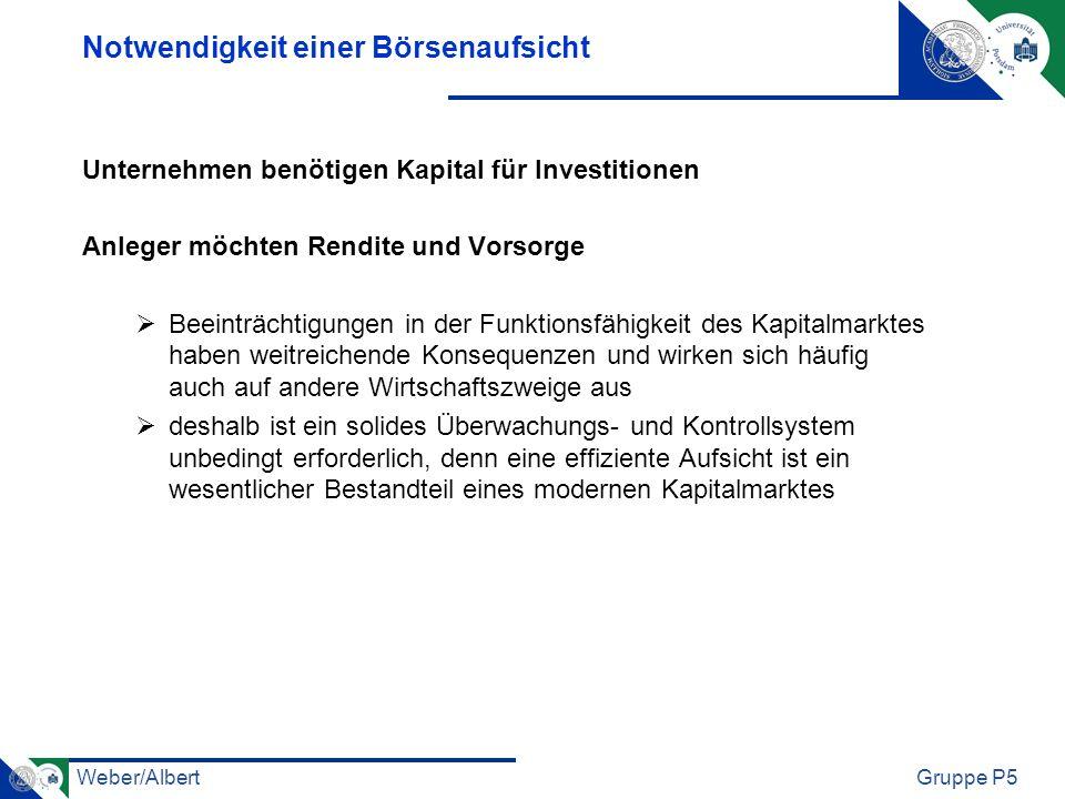 Weber/AlbertGruppe P5 Notwendigkeit einer Börsenaufsicht Unternehmen benötigen Kapital für Investitionen Anleger möchten Rendite und Vorsorge Beeinträ