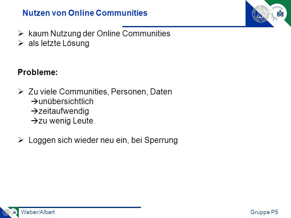 Weber/AlbertGruppe P5 Nutzen von Online Communities kaum Nutzung der Online Communities als letzte Lösung Probleme: Zu viele Communities, Personen, Da