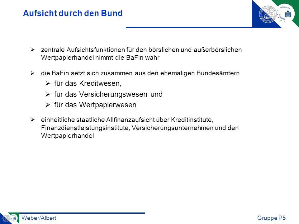 Weber/AlbertGruppe P5 Organisation der BaFin 3 voneinander getrennte Organisationseinheiten (die sogenannten Aufsichtssäulen): die Bankenaufsicht (BA), die Versicherungsaufsicht (VA) und den Bereich Wertpapieraufsicht/ Asset-Management (WA) sektorübergreifende Aufgaben werden von den drei Querschnittsabteilungen übernommen Hauptziel: Sicherung der Funktionsfähigkeit, Stabilität und Integrität des deutschen Finanzsystems