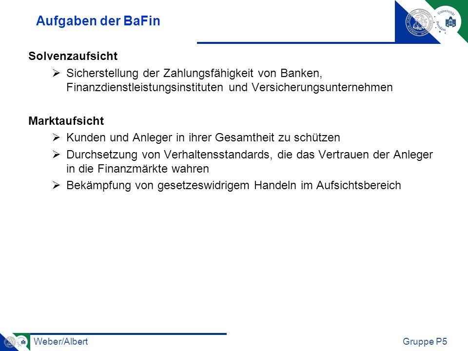 Weber/AlbertGruppe P5 Aufgaben der BaFin Solvenzaufsicht Sicherstellung der Zahlungsfähigkeit von Banken, Finanzdienstleistungsinstituten und Versiche