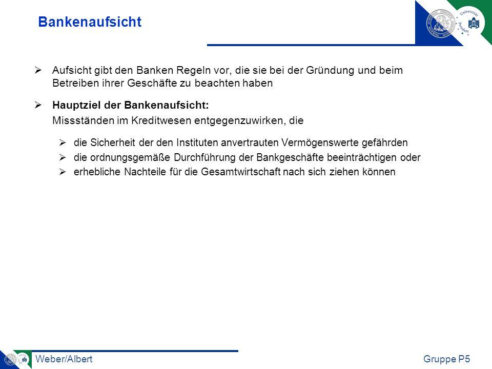 Weber/AlbertGruppe P5 Bankenaufsicht Aufsicht gibt den Banken Regeln vor, die sie bei der Gründung und beim Betreiben ihrer Geschäfte zu beachten habe