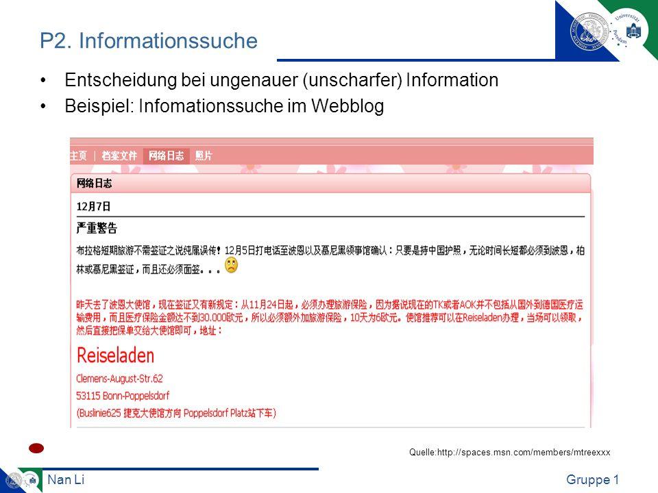 Nan LiGruppe 1 P2. Informationssuche Entscheidung bei ungenauer (unscharfer) Information Beispiel: Infomationssuche im Webblog Quelle:http://spaces.ms