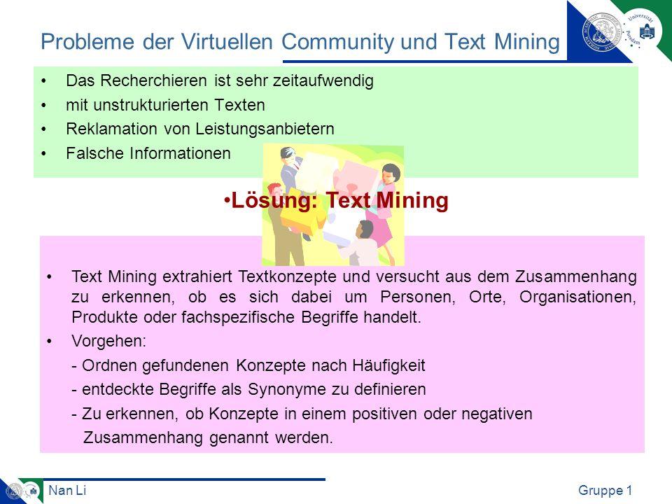 Nan LiGruppe 1 Probleme der Virtuellen Community und Text Mining Das Recherchieren ist sehr zeitaufwendig mit unstrukturierten Texten Reklamation von