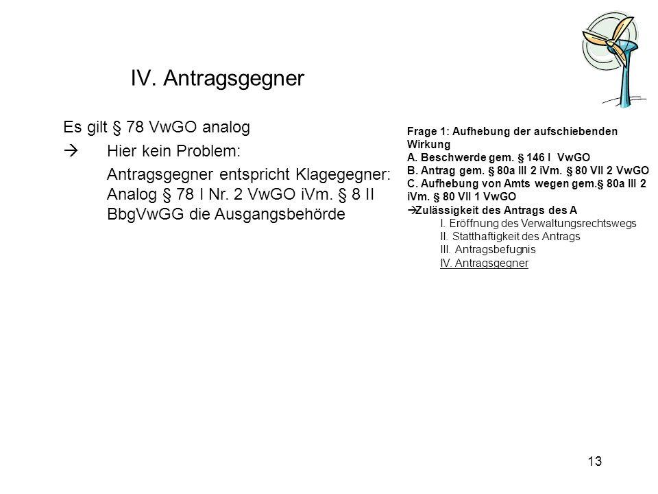 IV. Antragsgegner Es gilt § 78 VwGO analog Hier kein Problem: Antragsgegner entspricht Klagegegner: Analog § 78 I Nr. 2 VwGO iVm. § 8 II BbgVwGG die A