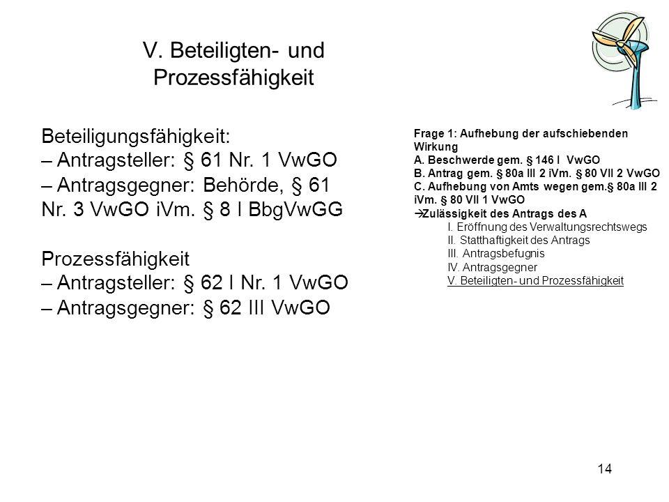 V. Beteiligten- und Prozessfähigkeit Beteiligungsfähigkeit: – Antragsteller: § 61 Nr. 1 VwGO – Antragsgegner: Behörde, § 61 Nr. 3 VwGO iVm. § 8 I BbgV