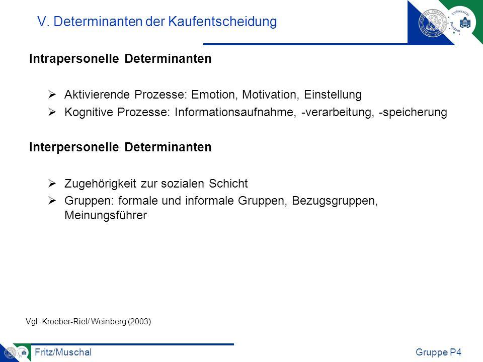 Fritz/MuschalGruppe P4 V. Determinanten der Kaufentscheidung Intrapersonelle Determinanten Aktivierende Prozesse: Emotion, Motivation, Einstellung Kog